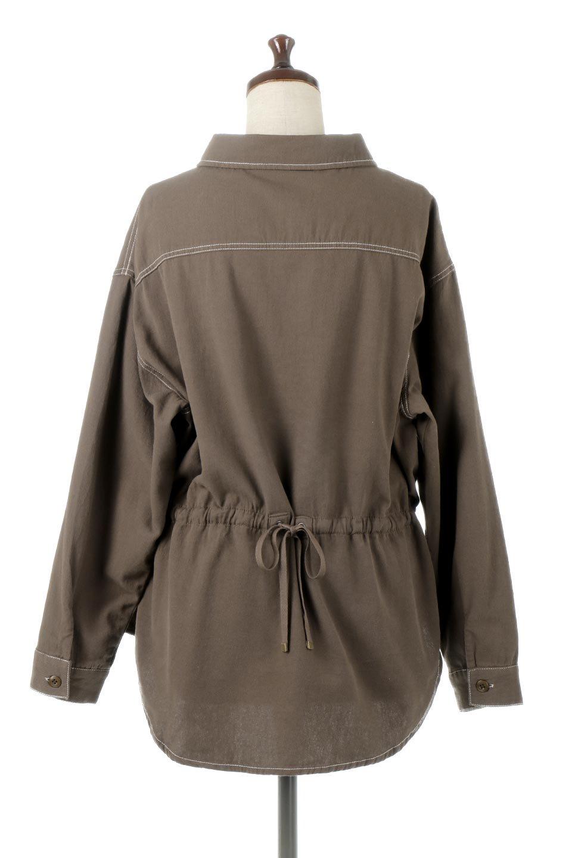TieWaistStitchedSafariShirt配色ステッチ・サファリシャツジャケット大人カジュアルに最適な海外ファッションのothers(その他インポートアイテム)のトップスやシャツ・ブラウス。配色ステッチがポイント。今年人気のサファリシャツジャケット。/main-14