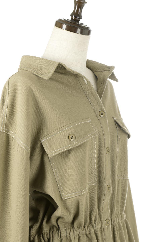 TieWaistStitchedSafariShirt配色ステッチ・サファリシャツジャケット大人カジュアルに最適な海外ファッションのothers(その他インポートアイテム)のトップスやシャツ・ブラウス。配色ステッチがポイント。今年人気のサファリシャツジャケット。/main-15