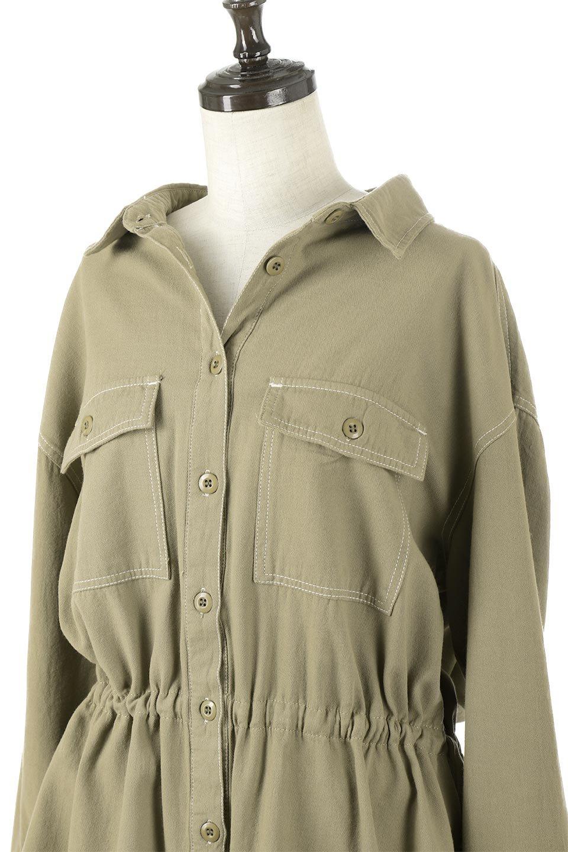 TieWaistStitchedSafariShirt配色ステッチ・サファリシャツジャケット大人カジュアルに最適な海外ファッションのothers(その他インポートアイテム)のトップスやシャツ・ブラウス。配色ステッチがポイント。今年人気のサファリシャツジャケット。/main-16
