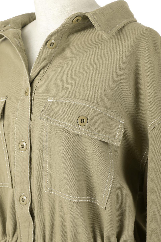 TieWaistStitchedSafariShirt配色ステッチ・サファリシャツジャケット大人カジュアルに最適な海外ファッションのothers(その他インポートアイテム)のトップスやシャツ・ブラウス。配色ステッチがポイント。今年人気のサファリシャツジャケット。/main-17