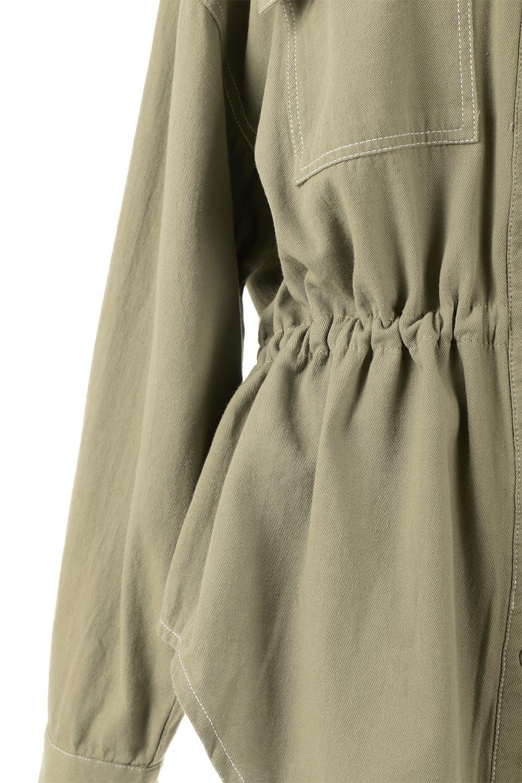 TieWaistStitchedSafariShirt配色ステッチ・サファリシャツジャケット大人カジュアルに最適な海外ファッションのothers(その他インポートアイテム)のトップスやシャツ・ブラウス。配色ステッチがポイント。今年人気のサファリシャツジャケット。/main-19
