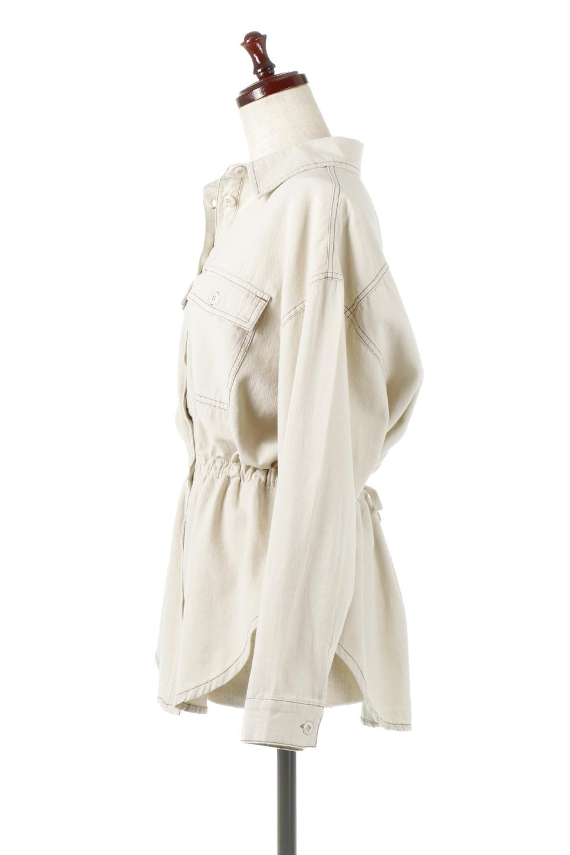 TieWaistStitchedSafariShirt配色ステッチ・サファリシャツジャケット大人カジュアルに最適な海外ファッションのothers(その他インポートアイテム)のトップスやシャツ・ブラウス。配色ステッチがポイント。今年人気のサファリシャツジャケット。/main-2