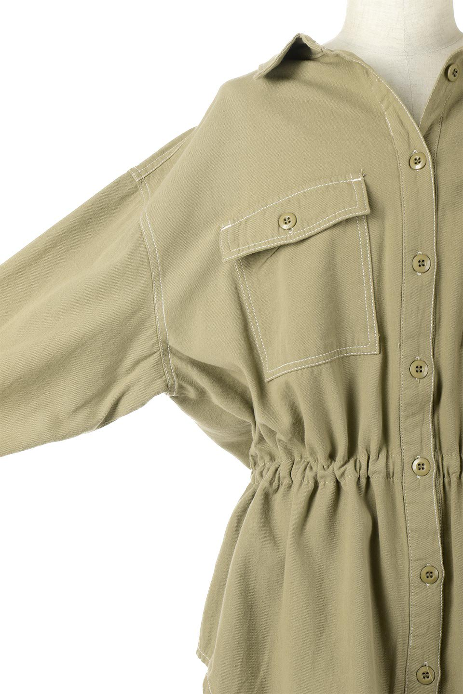 TieWaistStitchedSafariShirt配色ステッチ・サファリシャツジャケット大人カジュアルに最適な海外ファッションのothers(その他インポートアイテム)のトップスやシャツ・ブラウス。配色ステッチがポイント。今年人気のサファリシャツジャケット。/main-22