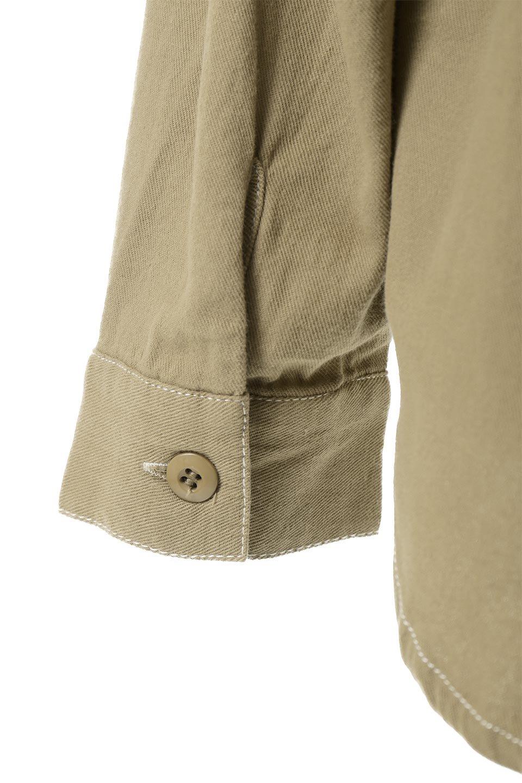 TieWaistStitchedSafariShirt配色ステッチ・サファリシャツジャケット大人カジュアルに最適な海外ファッションのothers(その他インポートアイテム)のトップスやシャツ・ブラウス。配色ステッチがポイント。今年人気のサファリシャツジャケット。/main-23
