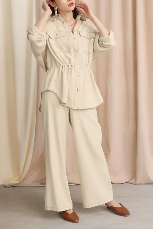 TieWaistStitchedSafariShirt配色ステッチ・サファリシャツジャケット大人カジュアルに最適な海外ファッションのothers(その他インポートアイテム)のトップスやシャツ・ブラウス。配色ステッチがポイント。今年人気のサファリシャツジャケット。/main-26