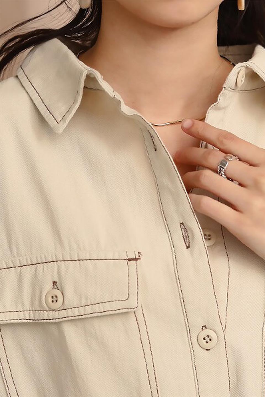 TieWaistStitchedSafariShirt配色ステッチ・サファリシャツジャケット大人カジュアルに最適な海外ファッションのothers(その他インポートアイテム)のトップスやシャツ・ブラウス。配色ステッチがポイント。今年人気のサファリシャツジャケット。/main-28