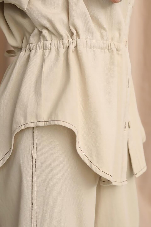 TieWaistStitchedSafariShirt配色ステッチ・サファリシャツジャケット大人カジュアルに最適な海外ファッションのothers(その他インポートアイテム)のトップスやシャツ・ブラウス。配色ステッチがポイント。今年人気のサファリシャツジャケット。/main-29