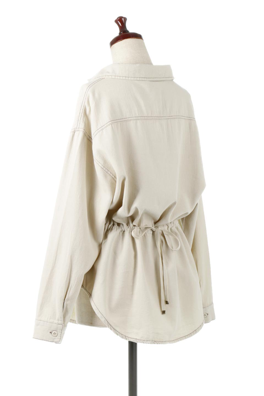 TieWaistStitchedSafariShirt配色ステッチ・サファリシャツジャケット大人カジュアルに最適な海外ファッションのothers(その他インポートアイテム)のトップスやシャツ・ブラウス。配色ステッチがポイント。今年人気のサファリシャツジャケット。/main-3
