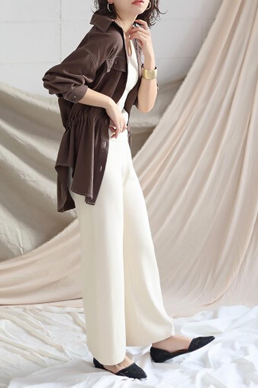 TieWaistStitchedSafariShirt配色ステッチ・サファリシャツジャケット大人カジュアルに最適な海外ファッションのothers(その他インポートアイテム)のトップスやシャツ・ブラウス。配色ステッチがポイント。今年人気のサファリシャツジャケット。/main-31