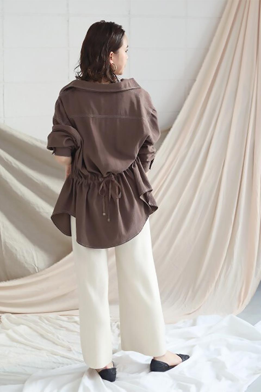TieWaistStitchedSafariShirt配色ステッチ・サファリシャツジャケット大人カジュアルに最適な海外ファッションのothers(その他インポートアイテム)のトップスやシャツ・ブラウス。配色ステッチがポイント。今年人気のサファリシャツジャケット。/main-32