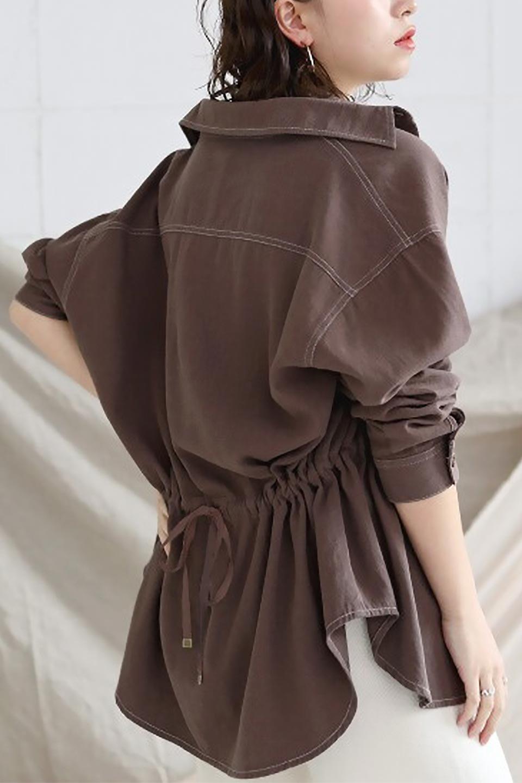 TieWaistStitchedSafariShirt配色ステッチ・サファリシャツジャケット大人カジュアルに最適な海外ファッションのothers(その他インポートアイテム)のトップスやシャツ・ブラウス。配色ステッチがポイント。今年人気のサファリシャツジャケット。/main-33