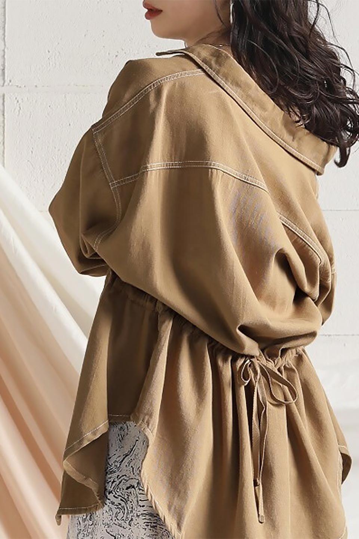 TieWaistStitchedSafariShirt配色ステッチ・サファリシャツジャケット大人カジュアルに最適な海外ファッションのothers(その他インポートアイテム)のトップスやシャツ・ブラウス。配色ステッチがポイント。今年人気のサファリシャツジャケット。/main-35