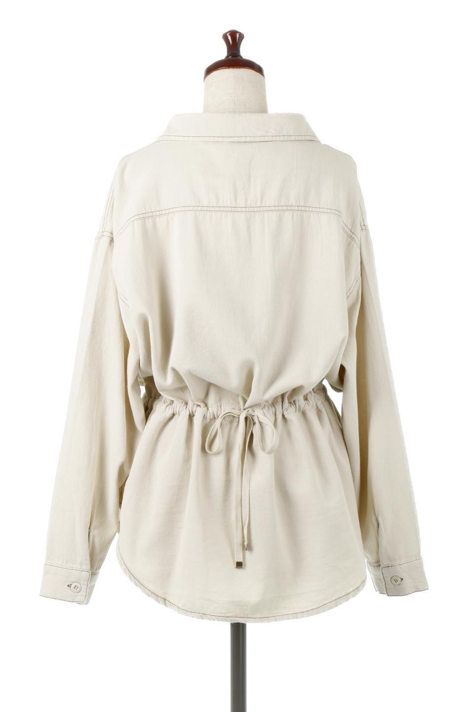 TieWaistStitchedSafariShirt配色ステッチ・サファリシャツジャケット大人カジュアルに最適な海外ファッションのothers(その他インポートアイテム)のトップスやシャツ・ブラウス。配色ステッチがポイント。今年人気のサファリシャツジャケット。/main-4