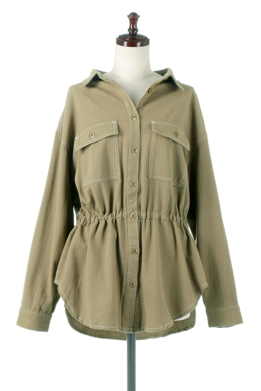 TieWaistStitchedSafariShirt配色ステッチ・サファリシャツジャケット大人カジュアルに最適な海外ファッションのothers(その他インポートアイテム)のトップスやシャツ・ブラウス。配色ステッチがポイント。今年人気のサファリシャツジャケット。/main-5