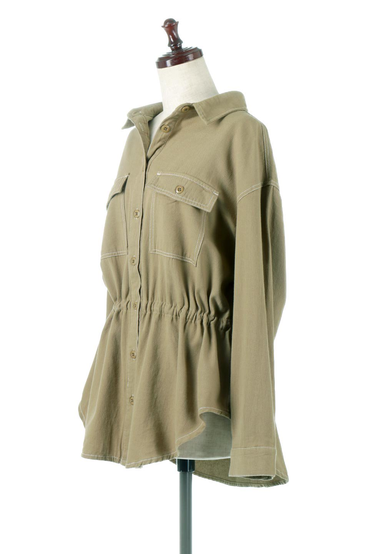 TieWaistStitchedSafariShirt配色ステッチ・サファリシャツジャケット大人カジュアルに最適な海外ファッションのothers(その他インポートアイテム)のトップスやシャツ・ブラウス。配色ステッチがポイント。今年人気のサファリシャツジャケット。/main-6