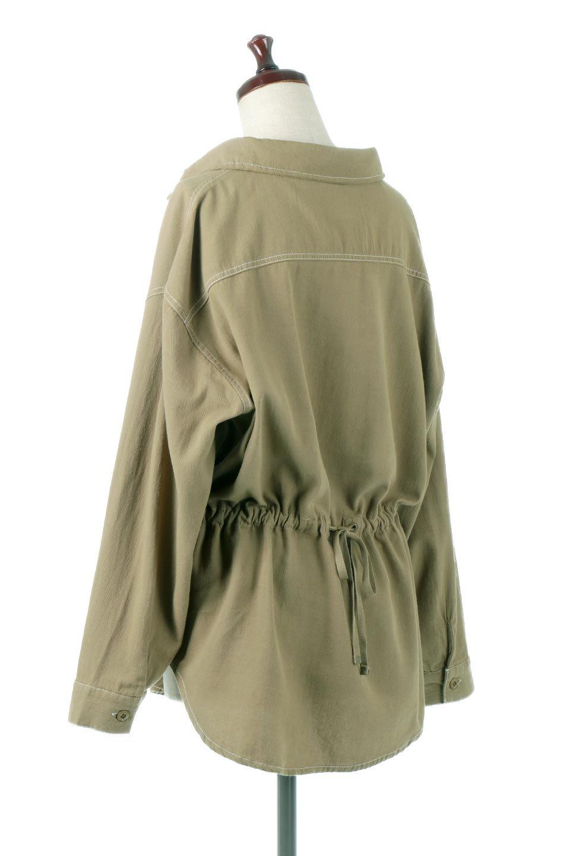 TieWaistStitchedSafariShirt配色ステッチ・サファリシャツジャケット大人カジュアルに最適な海外ファッションのothers(その他インポートアイテム)のトップスやシャツ・ブラウス。配色ステッチがポイント。今年人気のサファリシャツジャケット。/main-8