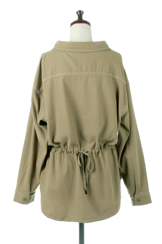 TieWaistStitchedSafariShirt配色ステッチ・サファリシャツジャケット大人カジュアルに最適な海外ファッションのothers(その他インポートアイテム)のトップスやシャツ・ブラウス。配色ステッチがポイント。今年人気のサファリシャツジャケット。/main-9
