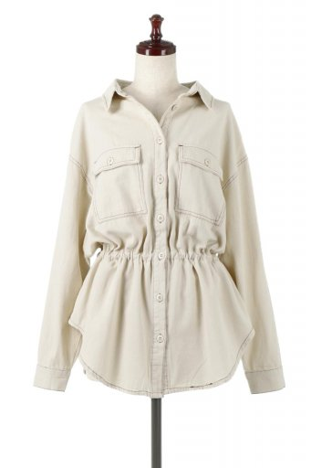 Tie Waist Stitched Safari Shirt 配色ステッチ・サファリシャツジャケット / 大人カジュアルに最適な海外ファッションが得意な福島市のセレクトショップbloom