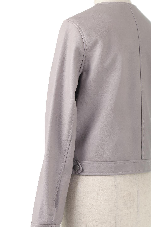 EcoLeatherCollarlessBikerJacketエコレザー・ノーカラーライダースジャケット大人カジュアルに最適な海外ファッションのothers(その他インポートアイテム)のアウターやジャケット。ノーカラーで春でもすっきり着こなせるシンプルなライダースジャケット。ワンピース、スカートなど様々なアイテムとのコーデが楽しめるオールラウンドなアウターです。/main-13