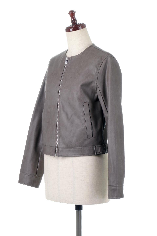 EcoLeatherCollarlessBikerJacketエコレザー・ノーカラーライダースジャケット大人カジュアルに最適な海外ファッションのothers(その他インポートアイテム)のアウターやジャケット。ノーカラーで春でもすっきり着こなせるシンプルなライダースジャケット。ワンピース、スカートなど様々なアイテムとのコーデが楽しめるオールラウンドなアウターです。/main-6