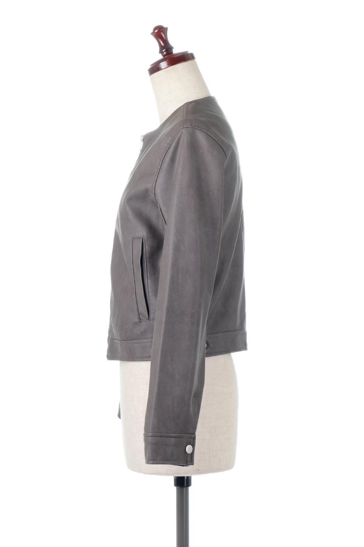 EcoLeatherCollarlessBikerJacketエコレザー・ノーカラーライダースジャケット大人カジュアルに最適な海外ファッションのothers(その他インポートアイテム)のアウターやジャケット。ノーカラーで春でもすっきり着こなせるシンプルなライダースジャケット。ワンピース、スカートなど様々なアイテムとのコーデが楽しめるオールラウンドなアウターです。/main-7
