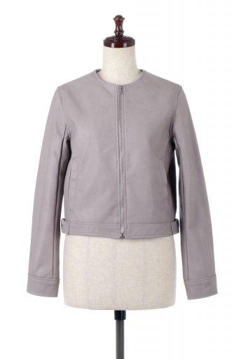 海外ファッションや大人カジュアルに最適なインポートセレクトアイテムのEco Leather Collarless Biker Jacket エコレザー・ノーカラーライダースジャケット