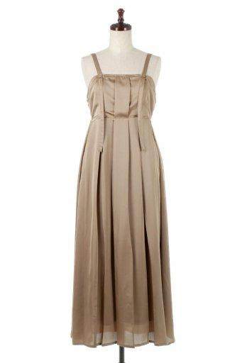海外ファッションや大人カジュアルに最適なインポートセレクトアイテムのFront Tacked Shiny Satin Long Dress フロントタック・サテンワンピース