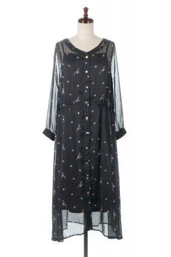 海外ファッションや大人カジュアルに最適なインポートセレクトアイテムのFront Open 2 Way Long Dress フルオープン・花柄ワンピース