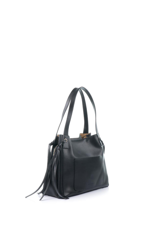 meliebiancoのLeslie(Black)センターポケット・トートバッグ/海外ファッション好きにオススメのインポートバッグとかばん、MelieBianco(メリービアンコ)のバッグやトートバッグ。荷室が別れてとても使いやすいバッグ。ファイルも入る大きめのサイズで仕事用としても活躍します。/main-3