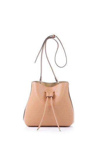 海外ファッションや大人カジュアルのためのインポートバッグ、かばんmelie bianco(メリービアンコ)のLeia (Peach) ビーガンレザー・巾着バッグ