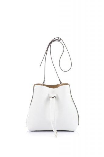 海外ファッションや大人カジュアルのためのインポートバッグ、かばんmelie bianco(メリービアンコ)のLeia (White) ビーガンレザー・巾着バッグ