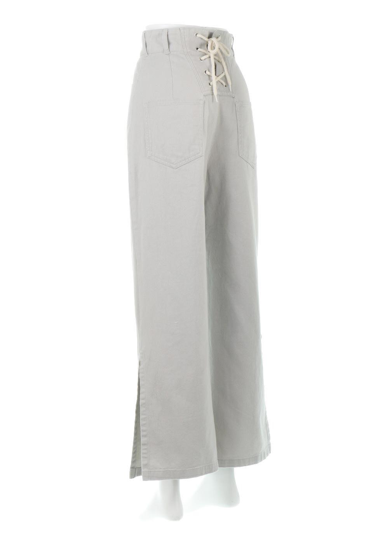 Lace-UpWideLegSlitPantsレースアップ・スリット入りワイドパンツ大人カジュアルに最適な海外ファッションのothers(その他インポートアイテム)のボトムやパンツ。バックのレースアップが特徴のワイドパンツ。ソフトなコットン生地で履き心地も抜群。/main-3