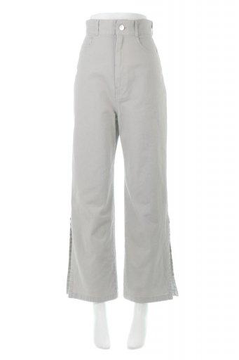 海外ファッションや大人カジュアルに最適なインポートセレクトアイテムのLace-Up Wide Leg Slit Pants  レースアップ・スリット入りワイドパンツ