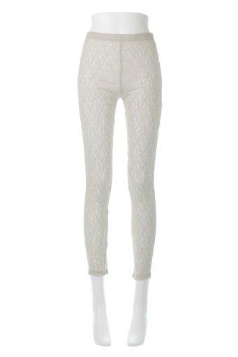海外ファッションや大人カジュアルに最適なインポートセレクトアイテムのSide Slit Lace Leggings サイドスリット・レギンスパンツ