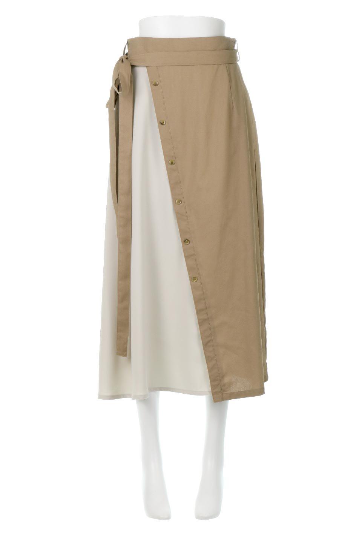 TieWaistBicolorPanelSkirtバイカラー・切替ラップ風スカート大人カジュアルに最適な海外ファッションのothers(その他インポートアイテム)のボトムやスカート。2種類の生地を使用したバイカラーのロングスカート。硬めの生地とソフトな生地を組み合わせたアシメデザイン。
