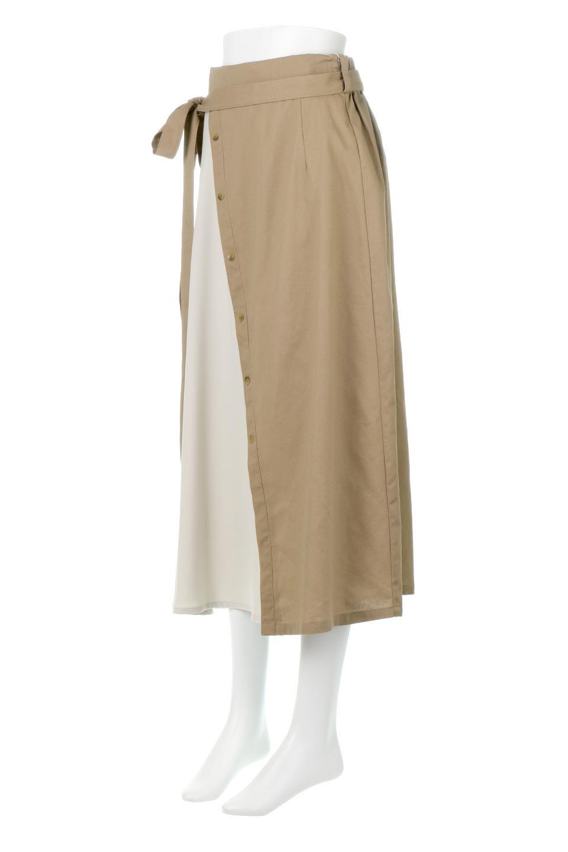 TieWaistBicolorPanelSkirtバイカラー・切替ラップ風スカート大人カジュアルに最適な海外ファッションのothers(その他インポートアイテム)のボトムやスカート。2種類の生地を使用したバイカラーのロングスカート。硬めの生地とソフトな生地を組み合わせたアシメデザイン。/main-1