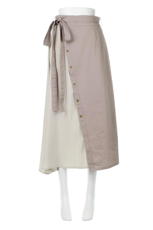 TieWaistBicolorPanelSkirtバイカラー・切替ラップ風スカート大人カジュアルに最適な海外ファッションのothers(その他インポートアイテム)のボトムやスカート。2種類の生地を使用したバイカラーのロングスカート。硬めの生地とソフトな生地を組み合わせたアシメデザイン。/main-10