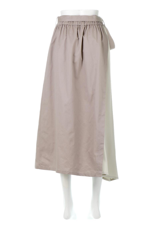 TieWaistBicolorPanelSkirtバイカラー・切替ラップ風スカート大人カジュアルに最適な海外ファッションのothers(その他インポートアイテム)のボトムやスカート。2種類の生地を使用したバイカラーのロングスカート。硬めの生地とソフトな生地を組み合わせたアシメデザイン。/main-14