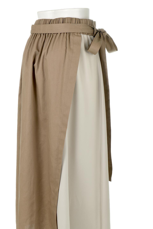 TieWaistBicolorPanelSkirtバイカラー・切替ラップ風スカート大人カジュアルに最適な海外ファッションのothers(その他インポートアイテム)のボトムやスカート。2種類の生地を使用したバイカラーのロングスカート。硬めの生地とソフトな生地を組み合わせたアシメデザイン。/main-18