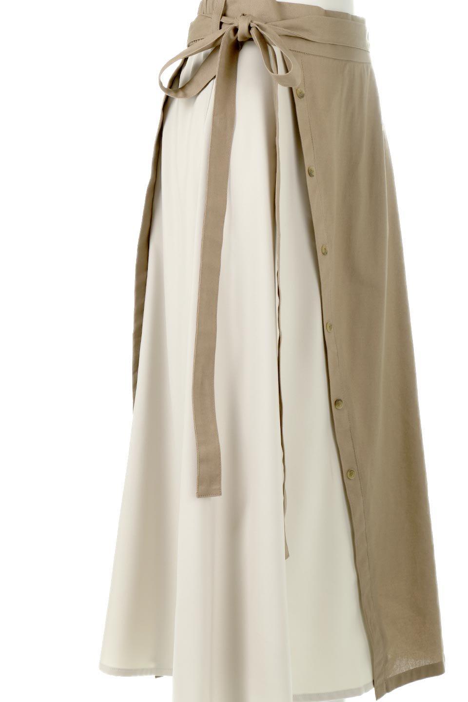 TieWaistBicolorPanelSkirtバイカラー・切替ラップ風スカート大人カジュアルに最適な海外ファッションのothers(その他インポートアイテム)のボトムやスカート。2種類の生地を使用したバイカラーのロングスカート。硬めの生地とソフトな生地を組み合わせたアシメデザイン。/main-19