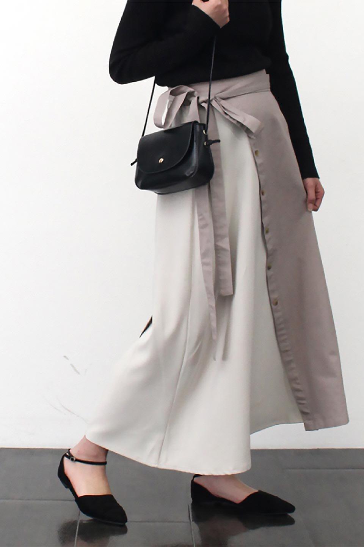 TieWaistBicolorPanelSkirtバイカラー・切替ラップ風スカート大人カジュアルに最適な海外ファッションのothers(その他インポートアイテム)のボトムやスカート。2種類の生地を使用したバイカラーのロングスカート。硬めの生地とソフトな生地を組み合わせたアシメデザイン。/main-22