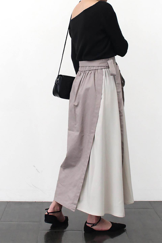 TieWaistBicolorPanelSkirtバイカラー・切替ラップ風スカート大人カジュアルに最適な海外ファッションのothers(その他インポートアイテム)のボトムやスカート。2種類の生地を使用したバイカラーのロングスカート。硬めの生地とソフトな生地を組み合わせたアシメデザイン。/main-23