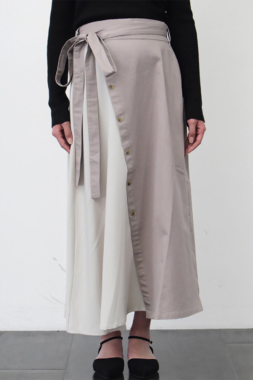 TieWaistBicolorPanelSkirtバイカラー・切替ラップ風スカート大人カジュアルに最適な海外ファッションのothers(その他インポートアイテム)のボトムやスカート。2種類の生地を使用したバイカラーのロングスカート。硬めの生地とソフトな生地を組み合わせたアシメデザイン。/main-24