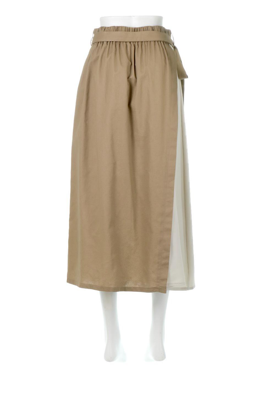 TieWaistBicolorPanelSkirtバイカラー・切替ラップ風スカート大人カジュアルに最適な海外ファッションのothers(その他インポートアイテム)のボトムやスカート。2種類の生地を使用したバイカラーのロングスカート。硬めの生地とソフトな生地を組み合わせたアシメデザイン。/main-4