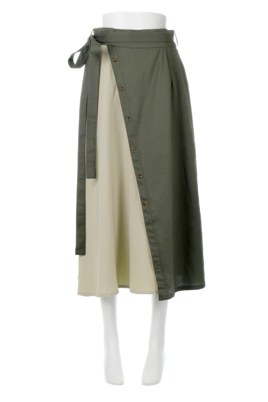 TieWaistBicolorPanelSkirtバイカラー・切替ラップ風スカート大人カジュアルに最適な海外ファッションのothers(その他インポートアイテム)のボトムやスカート。2種類の生地を使用したバイカラーのロングスカート。硬めの生地とソフトな生地を組み合わせたアシメデザイン。/main-5