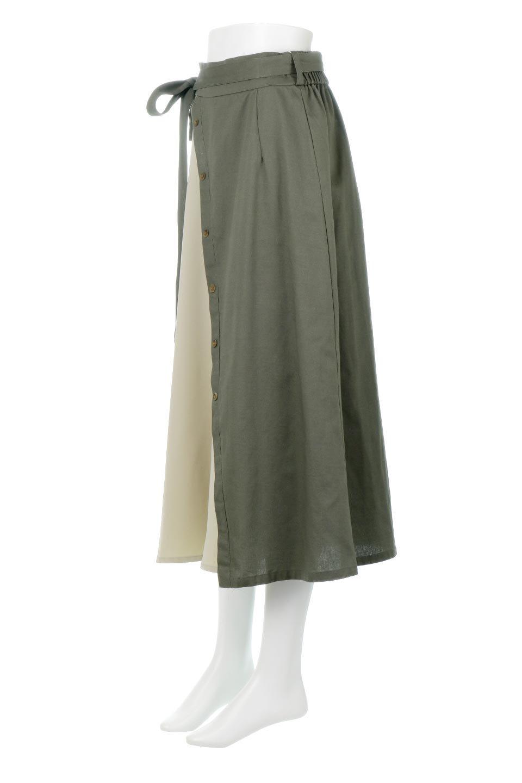 TieWaistBicolorPanelSkirtバイカラー・切替ラップ風スカート大人カジュアルに最適な海外ファッションのothers(その他インポートアイテム)のボトムやスカート。2種類の生地を使用したバイカラーのロングスカート。硬めの生地とソフトな生地を組み合わせたアシメデザイン。/main-6