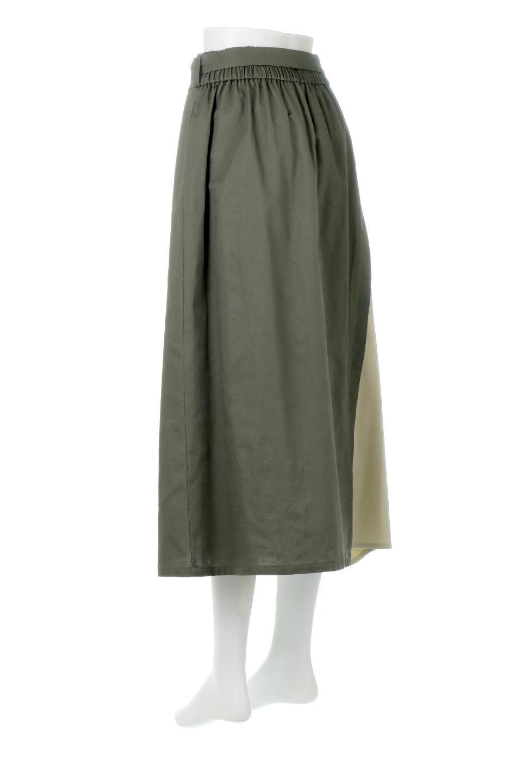 TieWaistBicolorPanelSkirtバイカラー・切替ラップ風スカート大人カジュアルに最適な海外ファッションのothers(その他インポートアイテム)のボトムやスカート。2種類の生地を使用したバイカラーのロングスカート。硬めの生地とソフトな生地を組み合わせたアシメデザイン。/main-8