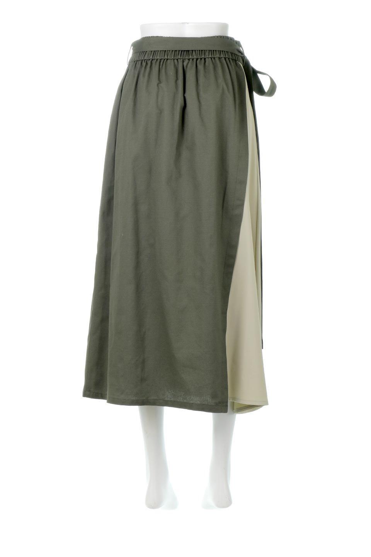 TieWaistBicolorPanelSkirtバイカラー・切替ラップ風スカート大人カジュアルに最適な海外ファッションのothers(その他インポートアイテム)のボトムやスカート。2種類の生地を使用したバイカラーのロングスカート。硬めの生地とソフトな生地を組み合わせたアシメデザイン。/main-9