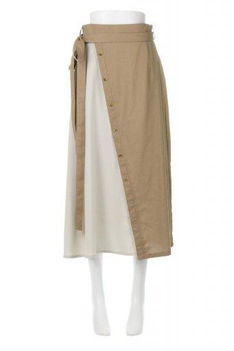 海外ファッションや大人カジュアルに最適なインポートセレクトアイテムのTie Waist Bicolor Panel Skirt バイカラー・切替ラップ風スカート