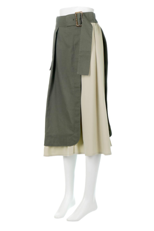 SidePocketBicolorPanelSkirtサイドポケット・切替ラップ風スカート大人カジュアルに最適な海外ファッションのothers(その他インポートアイテム)のボトムやスカート。2種類の生地を使用したバイカラーのロングスカート。硬めの生地とソフトな生地を組み合わせたアシメデザイン。/main-1